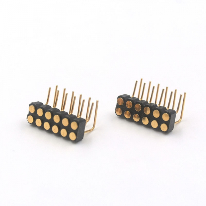 12 pin female pogo pin right angle connector