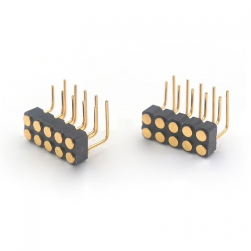 10 pin female right angle spring contact connector