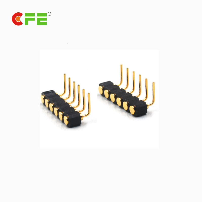 6 pin female right angle spring pin connector