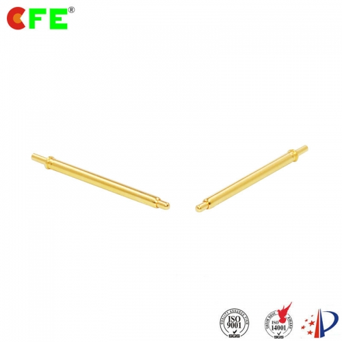 Through hole spring loaded electrical contact pins
