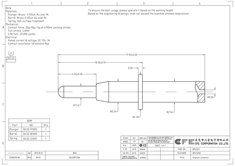 Pogo pin through hole type supplier