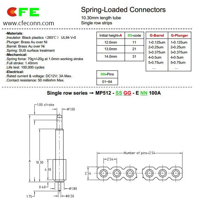 2.54 mm 4 pin pogo pin electrical spring connectors