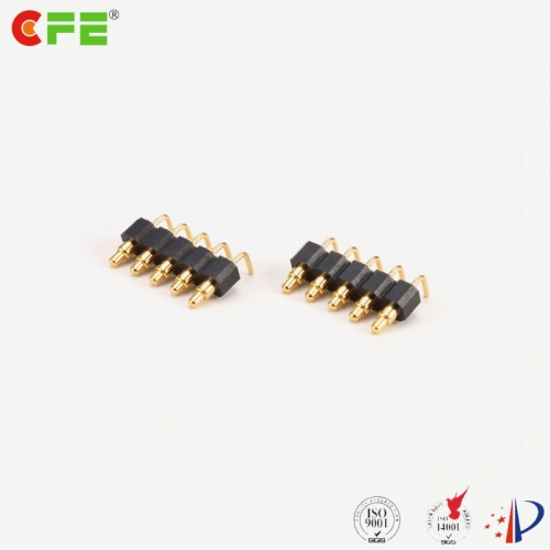 custom 6 pin right angle pogo pin spring connector