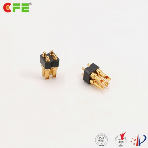 2.54mm pitch 4 pin 3a solder cup type spring loaded pogo pin connector manufacturer in China