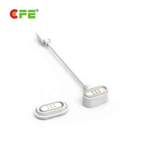 Custom 6 pin magnetic white power cable connector for medical equipment